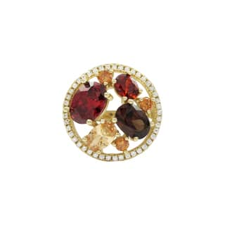 Luxiro Gold Finish Sterling Silver Red and Champagne Cubic Zirconia Ring|https://ak1.ostkcdn.com/images/products/16412930/P22760776.jpg?impolicy=medium