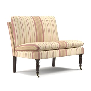 Handy Living Petersburg Pink Stripe Pillow Top Armless Settee