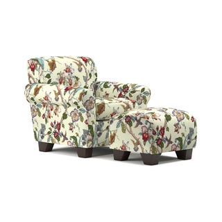 Handy Living Winnetka Cream Multi Floral Arm Chair and Ottoman Set