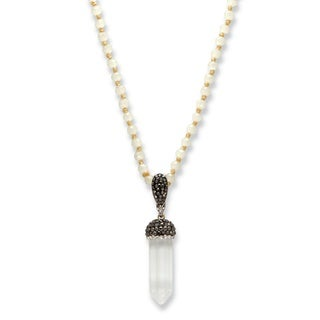 "Black and White Crystal Baguette Acorn Bale Silvertone White Beaded Necklace 32"" Bold Fashion"