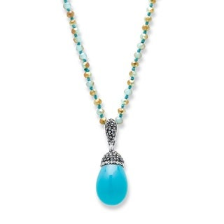 "Simulated Turquoise and Crystal Silvertone Teardrop Beaded Pendant Necklace 32"" Bold Fashion"