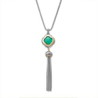 "Princess-Cut Green Crystal Gold Tone and Silvertone Halo Tassel Fringe Necklace 30""-32"" Bold Fashion"