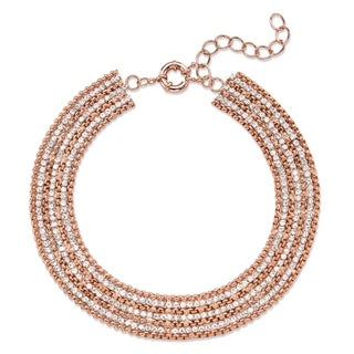 "Rose Gold-Plated Collar Necklace (20mm), Round Crystal, 11"" plus 3"" extension"