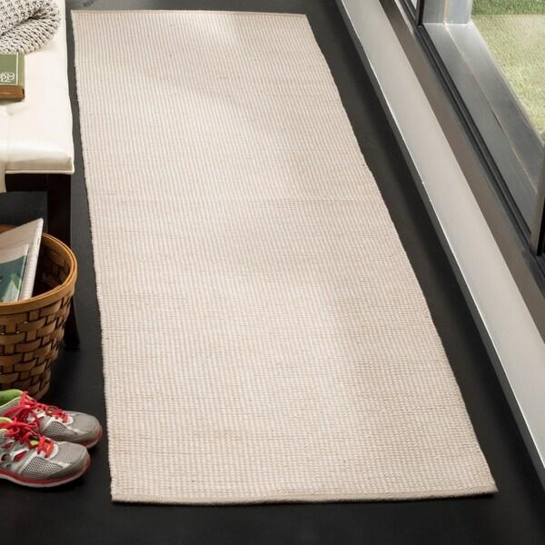 Safavieh Montauk Transitional Geometric Hand-Woven Cotton Ivory/ Grey Runner Rug - 2'3 x 6'
