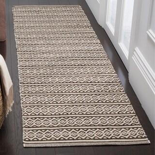 Safavieh Montauk Transitional Geometric Hand-Woven Cotton Ivory/ Black Runner Rug (2'3 x 6')
