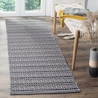 Safavieh Montauk Transitional Geometric Hand-Woven Cotton Ivory/ Navy Runner Rug - 2'3 x 6'