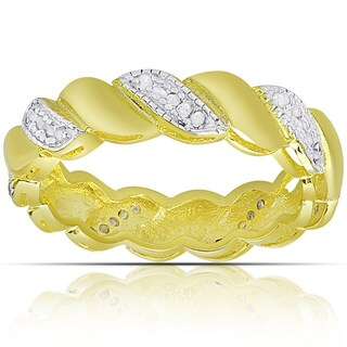 Finesque Gold over Silver or Sterling Silver 1/4ct TW Diamond Twist Design Ring (I-J, I2-I3)