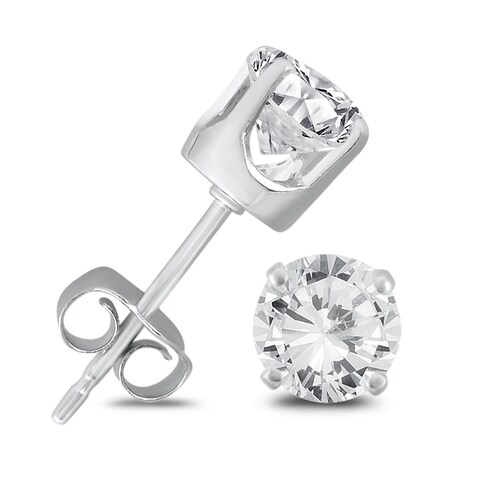 Marquee Jewels 14K White Gold 1 Carat TW AGS Certified Round Diamond Solitaire Stud Earrings