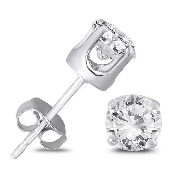 8ee917126a0 Marquee Jewels 14K White Gold 3/4 Carat TW AGS Certified Round Diamond  Solitaire Stud Earrings