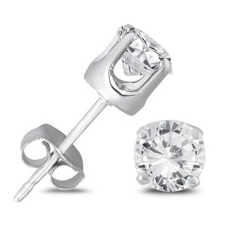 Marquee Jewels 14K White Gold 3/4 Carat TW AGS Certified Round Diamond Solitaire Stud Earrings
