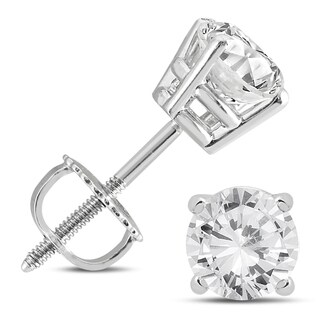 Marquee Jewels 14K White Gold 1 1/2 Carat TW AGS Certified Round Diamond Solitaire Stud Earrings