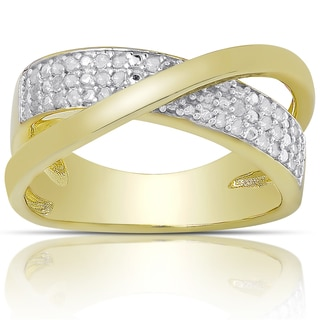 Finesque Gold over Silver or Sterling Silver 1/4ct TW Diamond Crossover Design Ring (I-J, I2-I3) (Size 7)