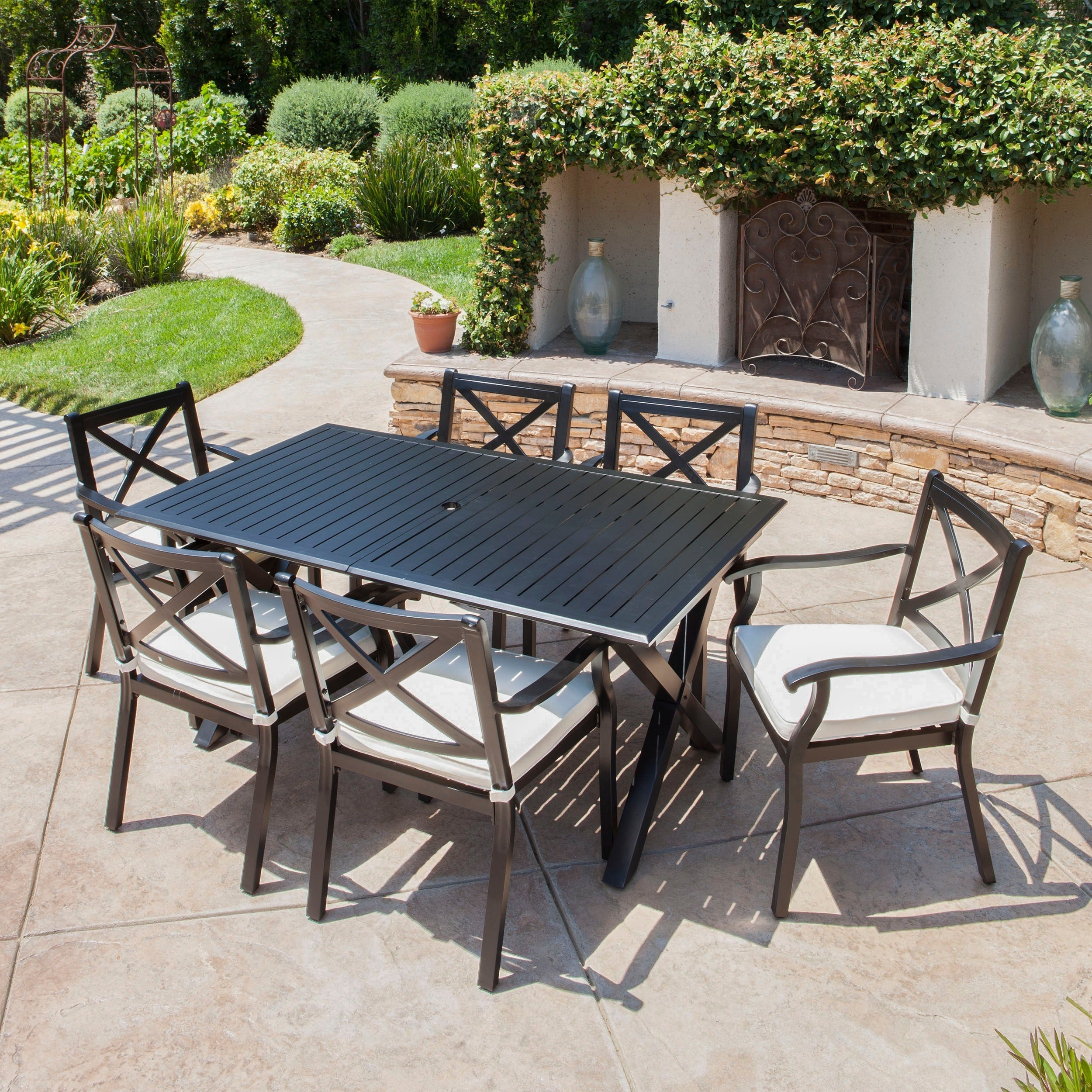 Exuma Outdoor Black Cast Aluminum Dining Set With Ivory Water Resistant Cushions By Christopher Knight Home Overstock 16413138