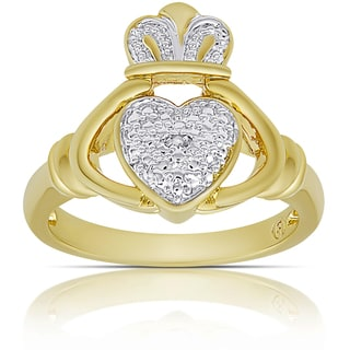 Finesque Gold Overlay Diamond Accent Claddagh Design Ring (I-J, I2-I3) (Size 7)