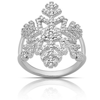 Finesque Silver Overlay Diamond Accent Snowflake Design Ring (I-J, I2-I3) (Size 7)
