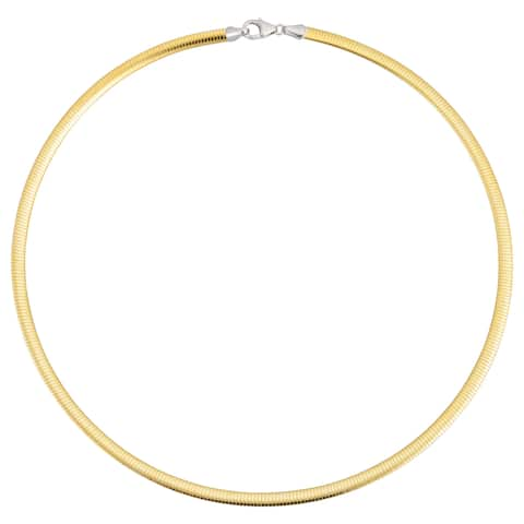 Fremada Italian 14k Two-tone Gold Reversible Omega Necklace (4-mm, 16 or 18 inches)