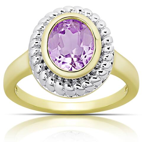Dolce Giavonna Gold over Sterling Silver Amethyst Oval Ring (Size 7)
