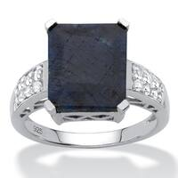 Sterling Silver Genuine Blue Sapphire and Round Genuine Topaz Ring