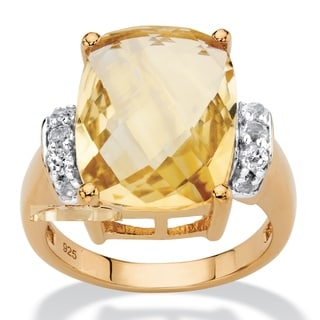 Cushion-Cut Genuine Citrine and White Topaz Cocktail Ring 8.60 TCW in 14k Yellow Gold over Sterling