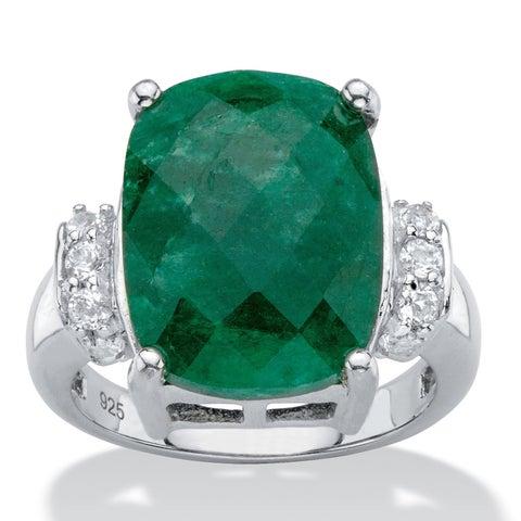 Sterling Silver Cushion-Cut Emerald and Genuine Tanzanite Ring