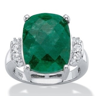 Sterling Silver Cushion-Cut Emerald and Genuine Tanzanite Ring