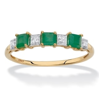 Genuine Green Emerald and Diamond Accent Princess-Cut Ring in Solid 10k Yellow Gold .66 TCW