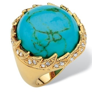 .45 TCW Round Viennese Turquoise and Cubic Zirconia Cabochon Cocktail Ring Gold-Plated Color Fun
