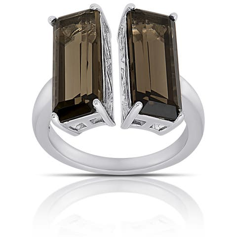Dolce Giavonna Sterling Silver Smokey Quartz Double T Bar Ring