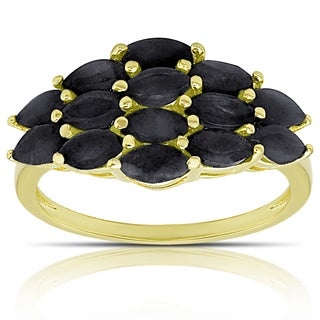 Dolce Giavonna Gold over Sterling Silver Gemstone Cluster Ring
