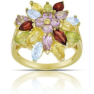 Dolce Giavonna Gold over Sterling Silver Multi Gemstone Cluster Ring (Size 7)