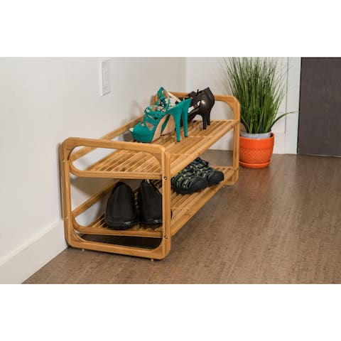 100-percent Bamboo 2-tier Shoe Rack