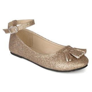 Journee Collection Kids 'Bardot' Ankle Strap Glitter Dress Shoes