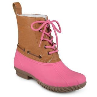 Journee Collection Kid's 'Matilda' Faux Shearling Lace-up Duck Boots