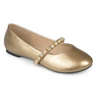 Journee Collection Kids 'Mona' Jewel Embellished Faux Patent Ballet Flats