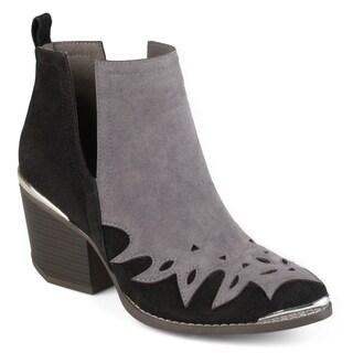 Journee Collection Women's 'Dotson' Stacked Wood Heel Western Two-tone Booties
