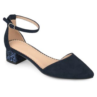 Journee Collection Women's 'Maisy' Pointed Toe Ankle Strap Glitter Heels