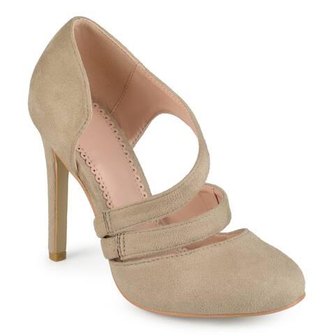 Journee Collection Women's 'Zeera' Faux Suede Crossover Strap Round Toe High Heels