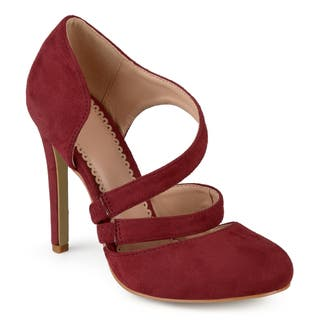 Journee Collection Women's 'Zeera' Faux Suede Crossover Strap Round Toe High Heels|https://ak1.ostkcdn.com/images/products/16413233/P22761029.jpg?impolicy=medium