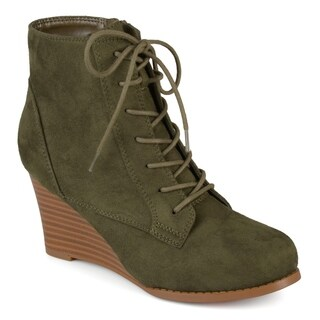 Journee Collection Women's 'Magely' Lace-up Stacked Wedge Booties
