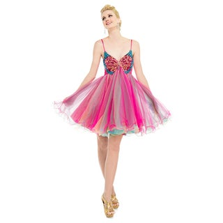 DFI Women's Pink Butterfly Baby Doll Dress