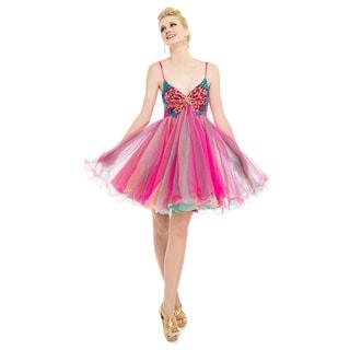 DFI Women's Pink Butterfly Baby Doll Dress