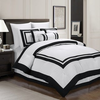 white and black bed sheets.  White Hotel Capprice 7 Piece Comforter Set And White Black Bed Sheets