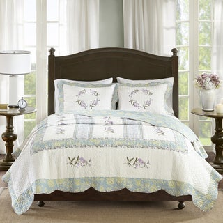 Madison Park Olga Ivory Cotton Percale Quilted Coverlet Set