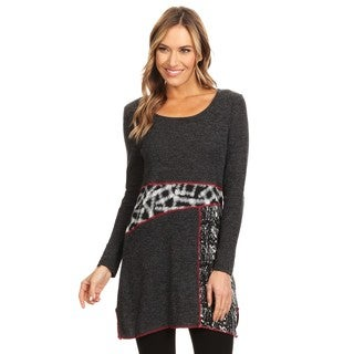 High Secret Women's Charcoal Print Round Neck Tunic Top