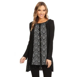 High Secret Women's Floral Print Patchwork Round Neck Tunic Top