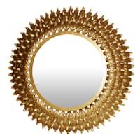 "Goldtone Metal Deep Round Wall Mirror (30"")"