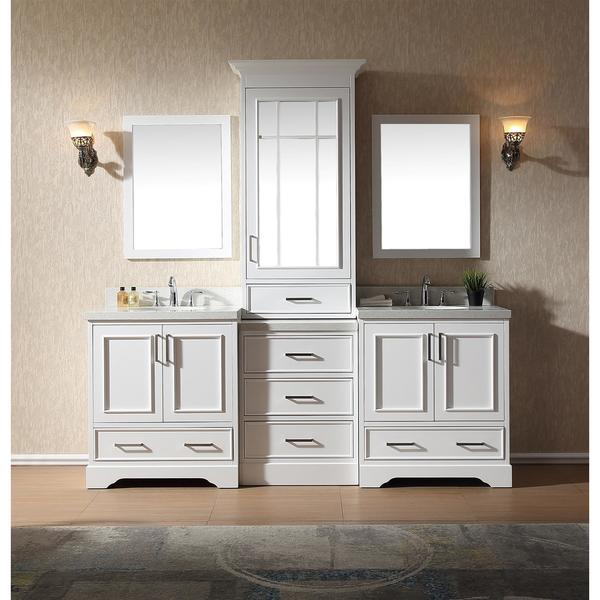 Stafford White Wood 85 Inch Double Sink Vanity Set With