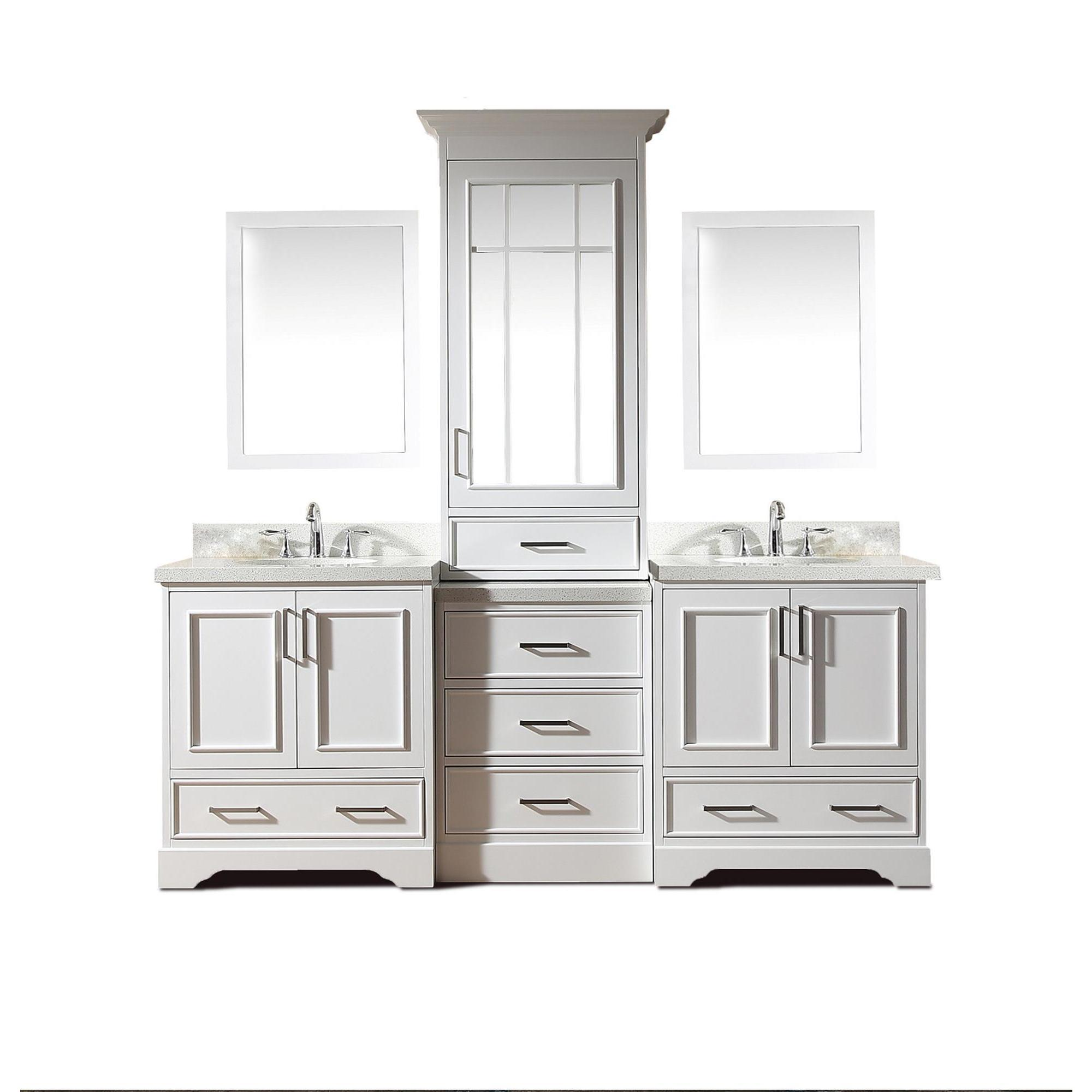 Stafford White Wood 85 Inch Double Sink Vanity Set With Center Medicine Cabinet Overstock 16413312