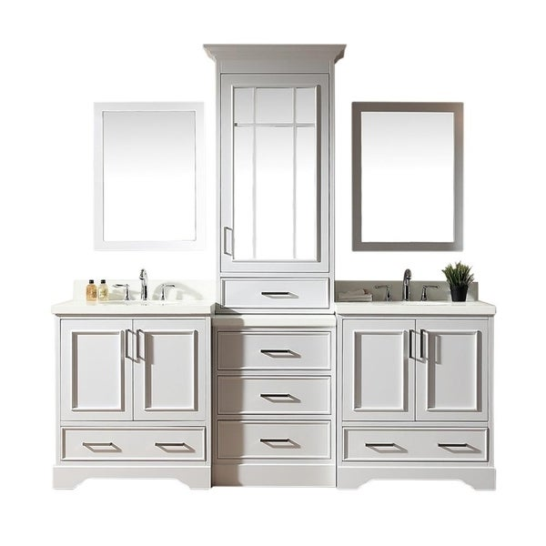 Stafford White Wood 85-inch Double Sink Vanity Set with Center Medicine Cabinet
