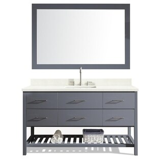 Ariel Shakespeare Grey Wood 61-inch Single-sink Vanity Set with White Quartz Countertop and Mirror